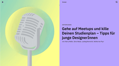 big illustrated microphone in a slider