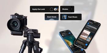 panasonic lumix camera next to some app screens