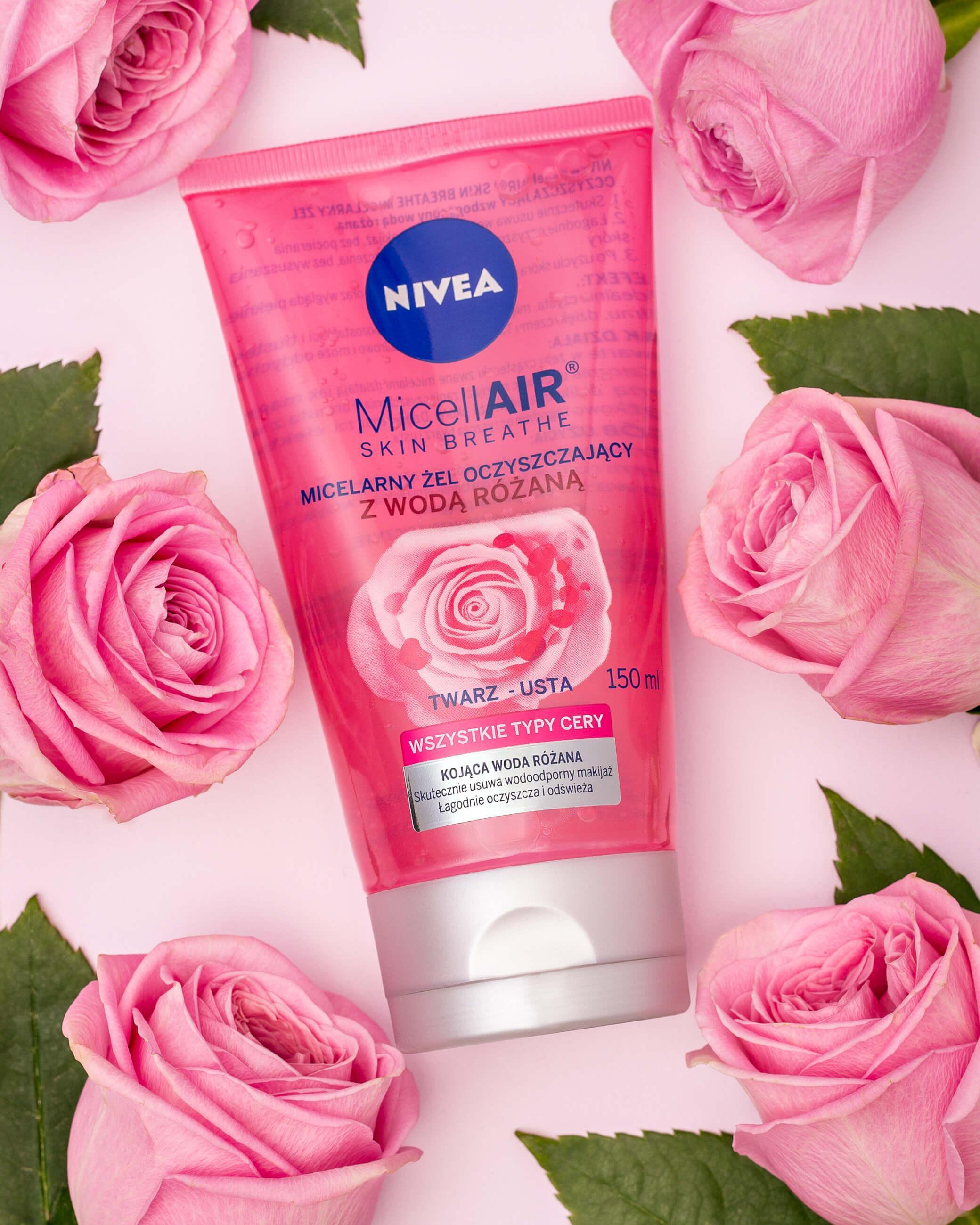Stylizowane zdjęcie reklamowe NIVEA MicellAir z różami