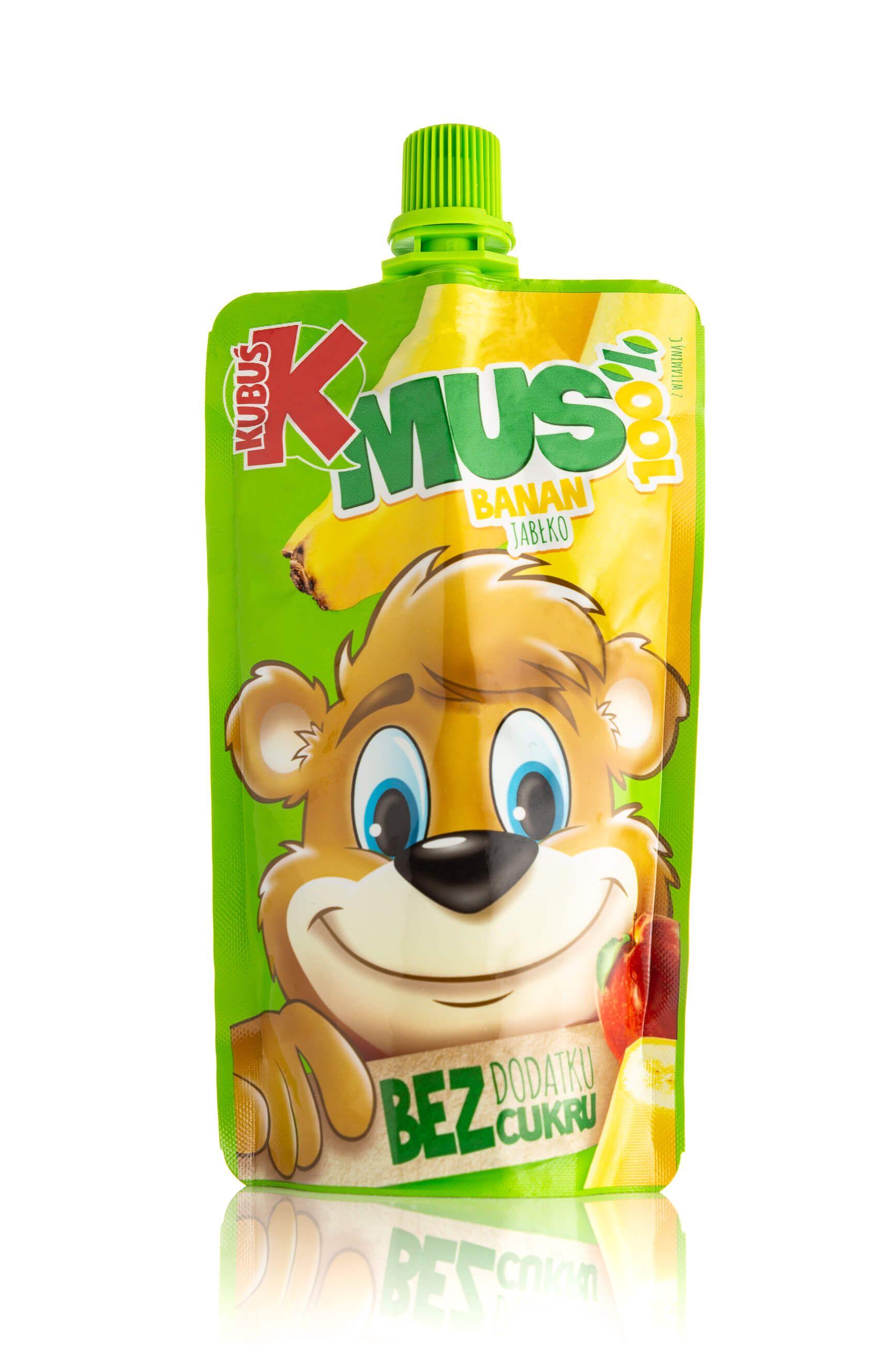 Zdjęcie produktowe typu packshot musu owocowego marki Kubuś