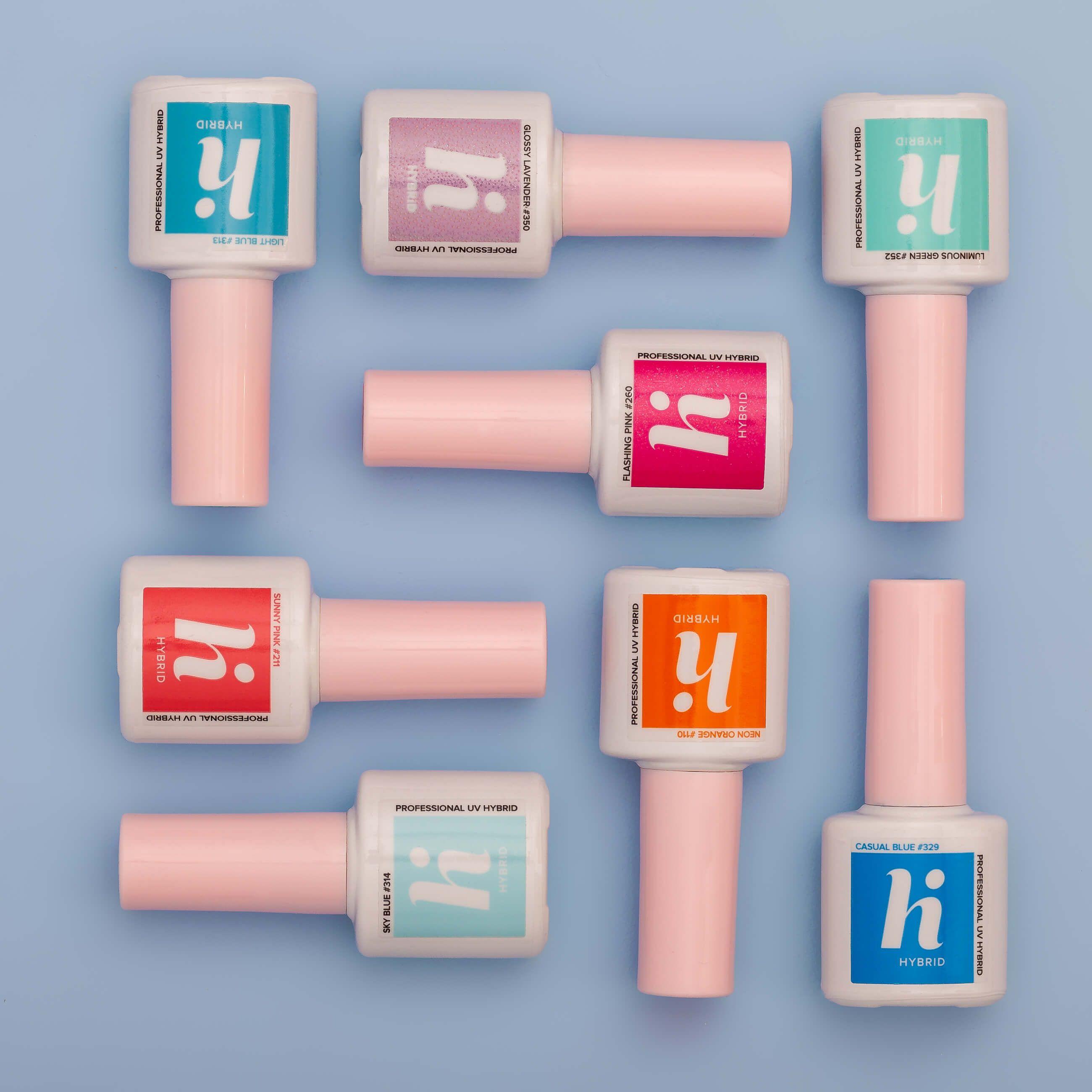 Zdjęcie produktowe hybrydowych lakierów do paznokci marki Hi