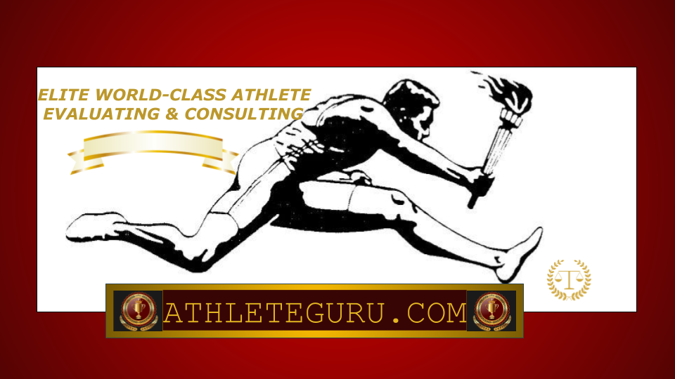 Logo of Athlete Guru, consisting of a hand-illustrated runner, clutching a Statute of Liberty-like torched flame in his right hand, as he hurdles a large rectangled box that houses ATHLETEGURU.COM in uppercase gold lettering.