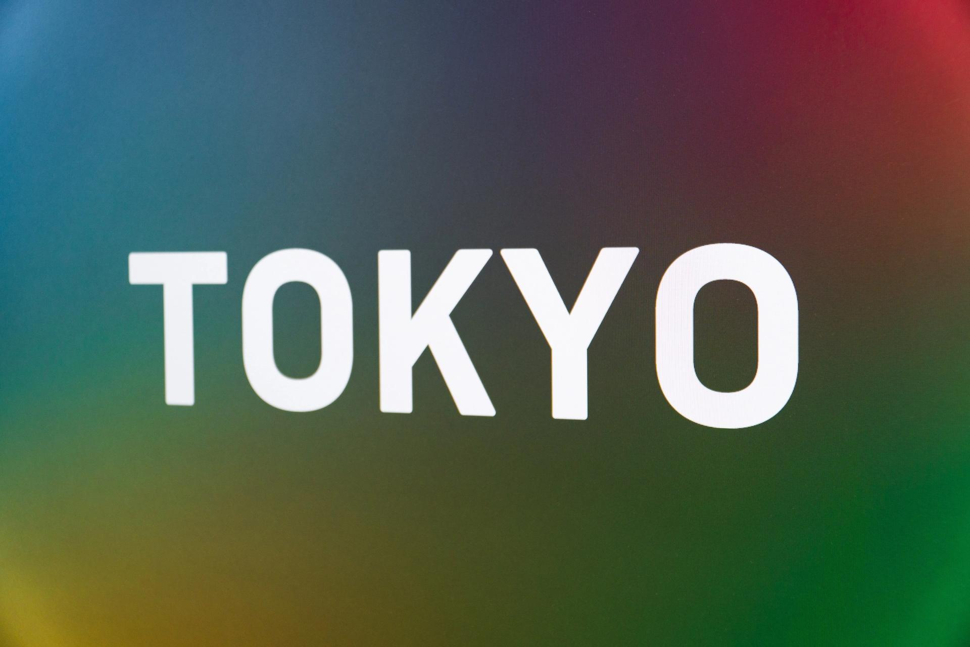 """Billboard-like multi-colored sign (blues, greens, purple and red), with uppercase white letters, spelling out """"TOKYO."""""""