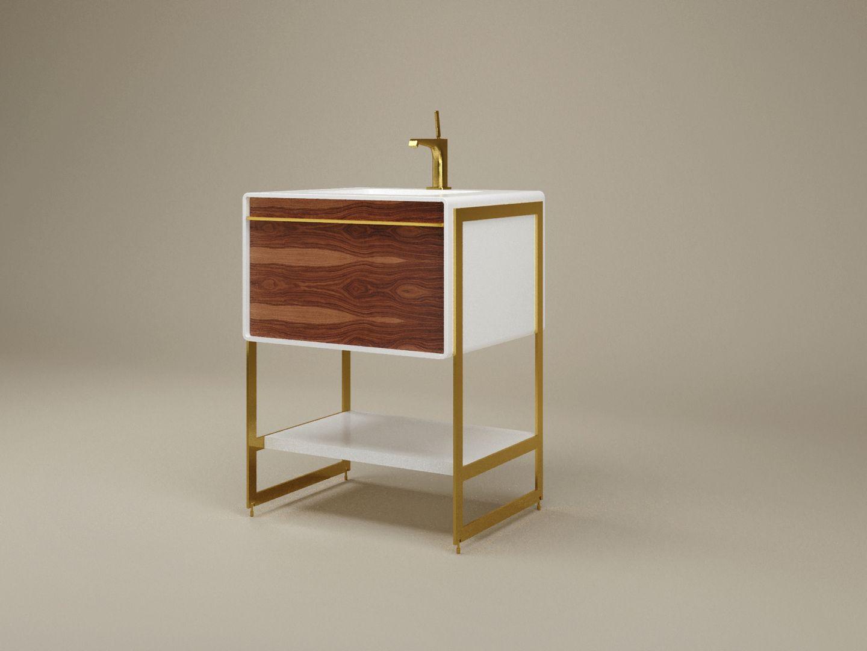 Lavabo de salle de bain dans un environnement virtuel créé par dessin 3D