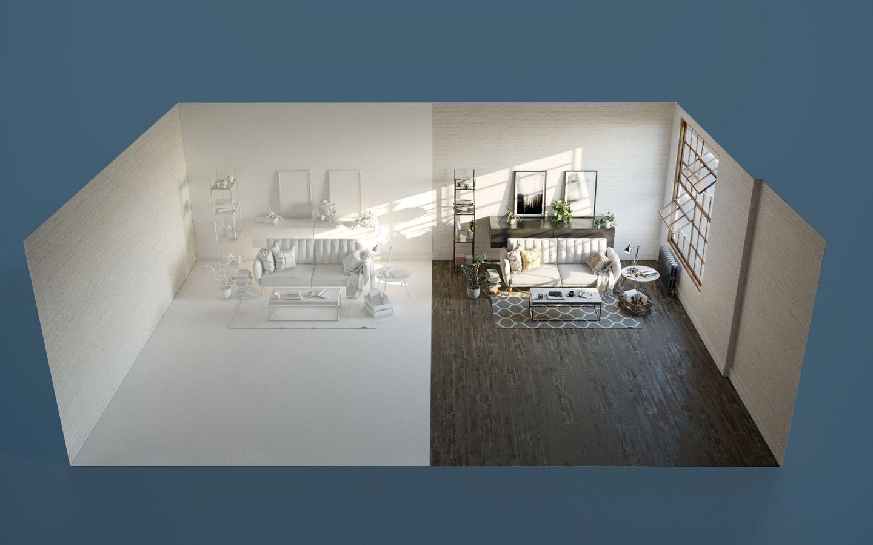 Environnement virtuel mettant en vedette un sofa de Dorel Home Product
