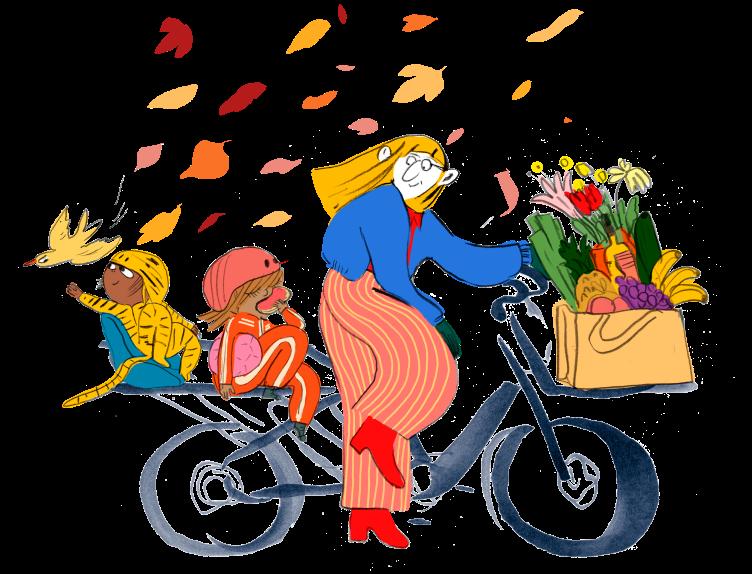 Lastesykkel med barn og bagasje