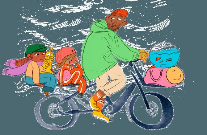 En mann og to barn som sitter på sykkelen