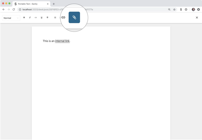 The editor with a custom paperclip icon for the internal link annotation