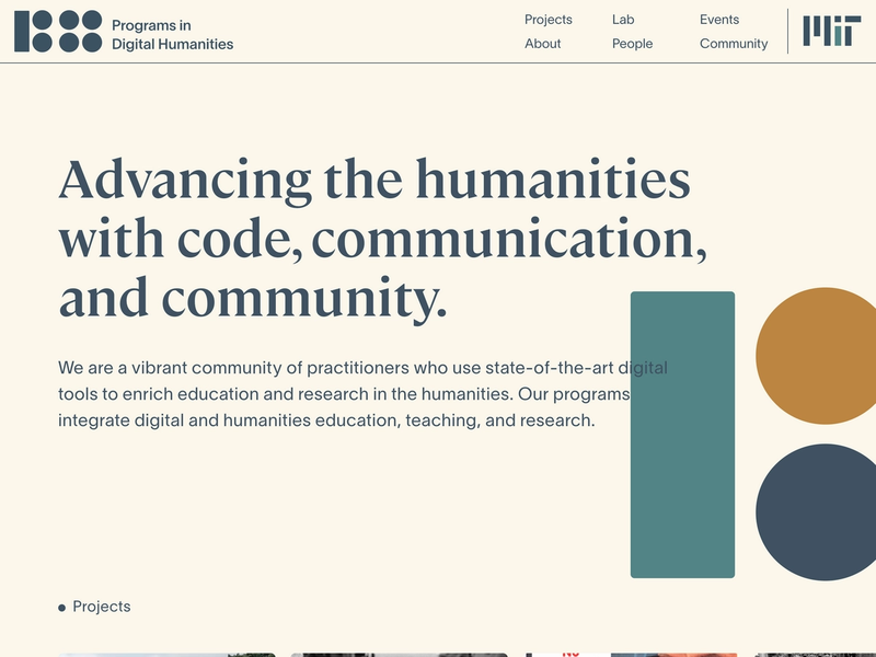MIT Digitial Humanities frontpage