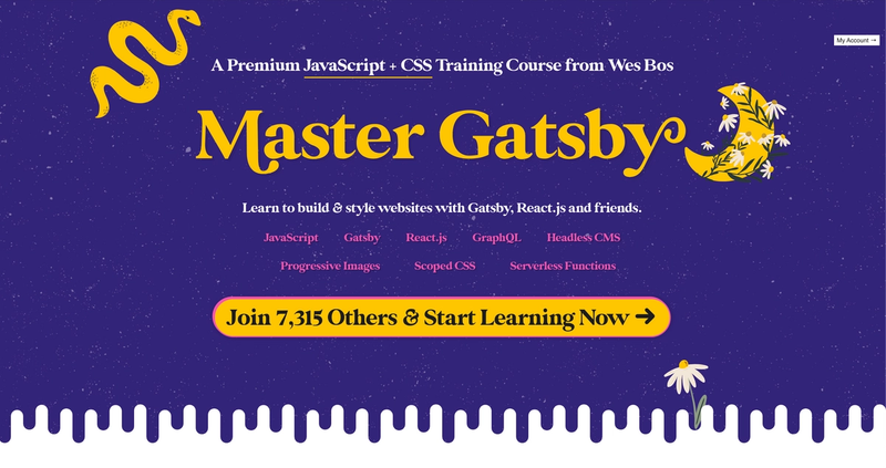 homepage for Master Gatsby course by Wes Bos