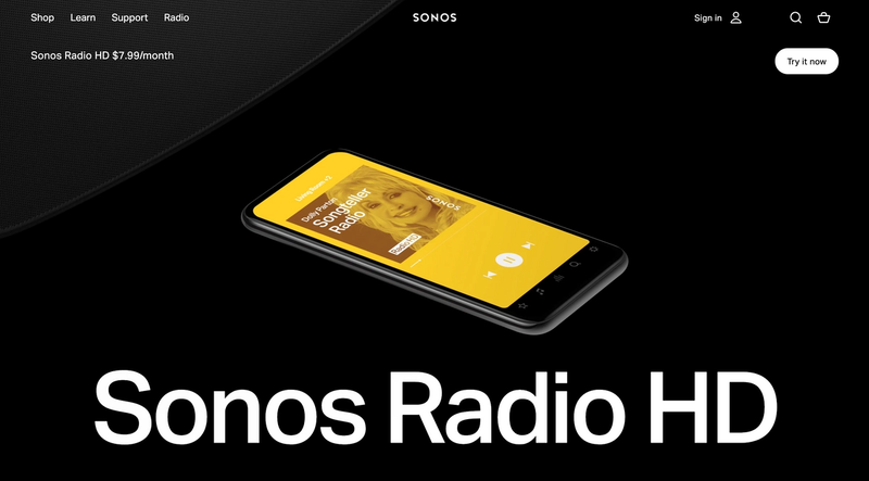 Sonos Radio HD homepage