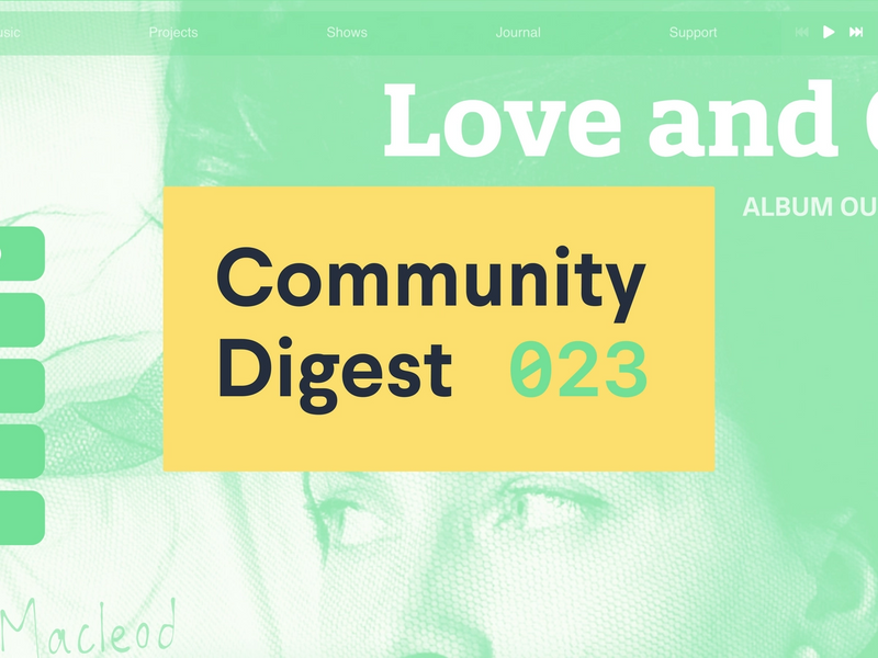 """Community digest 023"" text over photo"