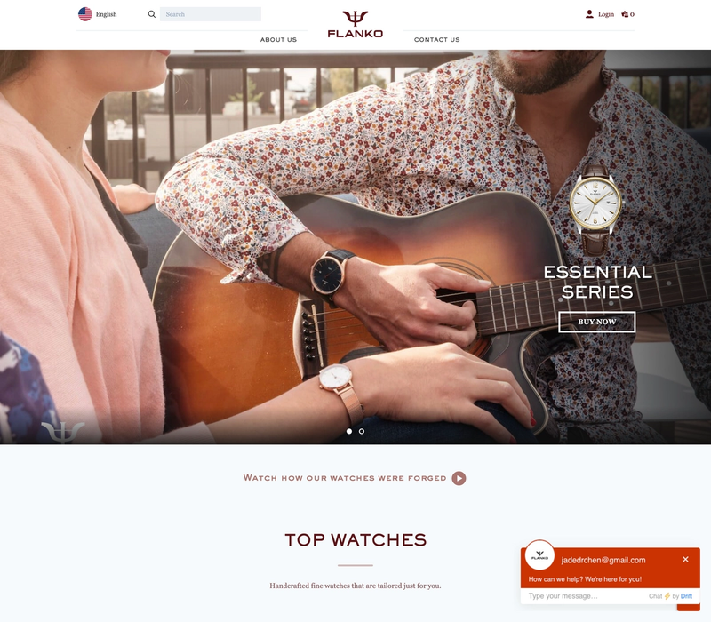 The Flanko Watches frontpage showing a person playing a guitar with a fancy wristwatch