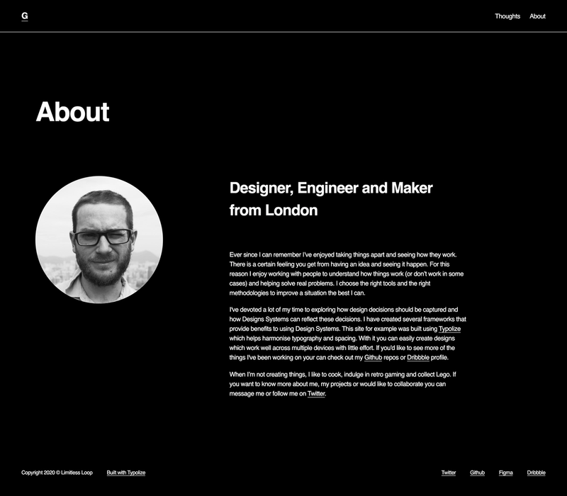 The about page for Gavin McFarland's portfolio