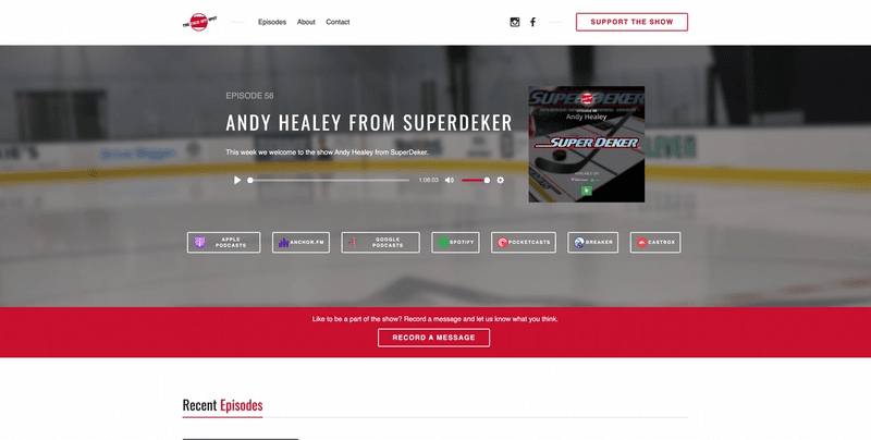 Home page of The Face-off Spot Podcast website