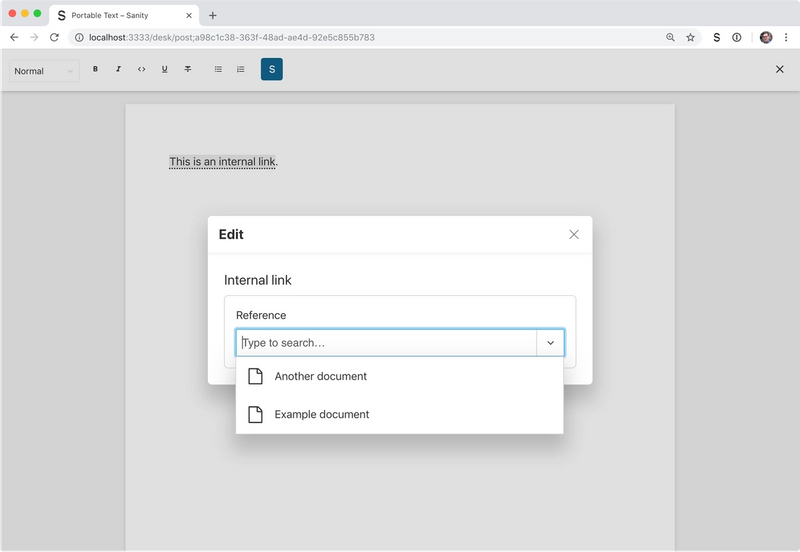 Reference modal for internal link annotation