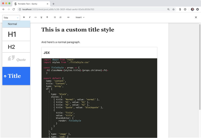 Editor with custom title style