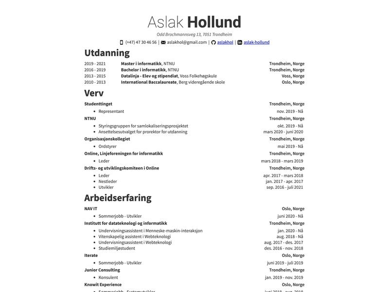 Aslak Hollund's CV