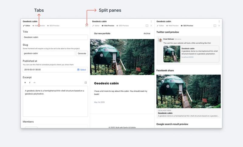 Screenshot of split views and tabs in Sanity Studio