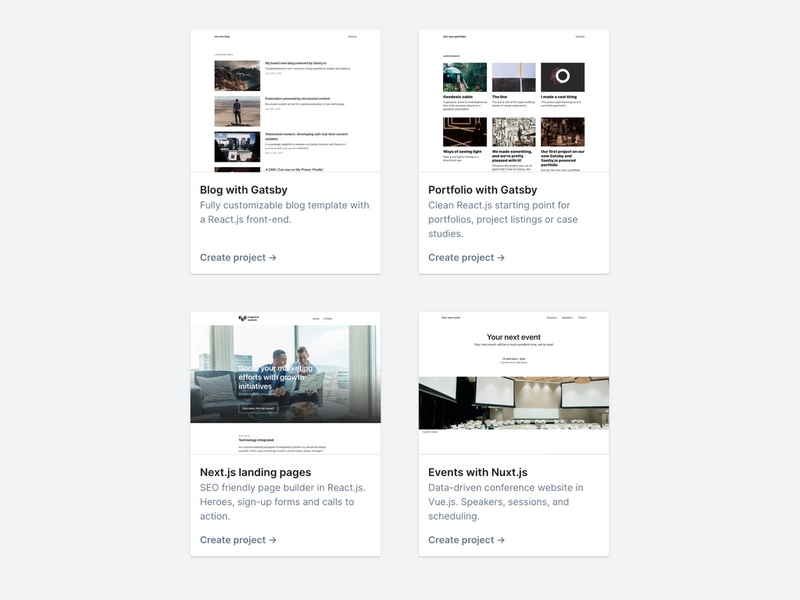 The four starter projects: Blog with Gatsby; Portfolio with Gatsby; Next.js landing pages; and Events with Nuxt.js