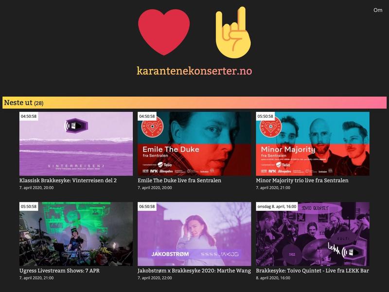 Karantenekonserter.no's frontpage