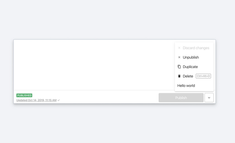 Document action screenshot from Sanity Studio
