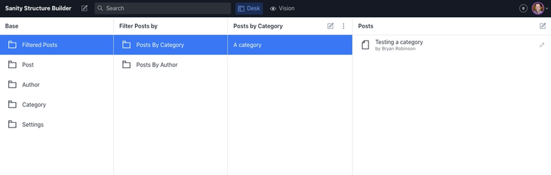 A list of documents matching our category filter in the final desk pane.