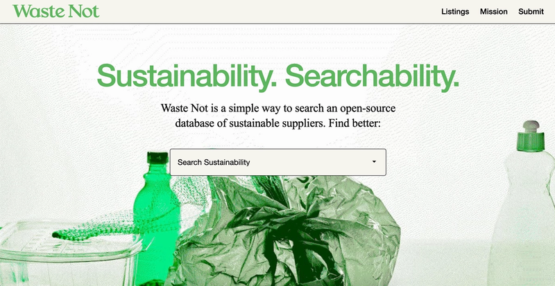 Front page of wastenot.world