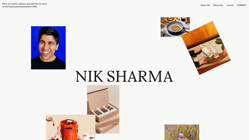 """The frontpage of nsharma.co displaying some photos with """"Nik Sharma""""in large type in the center"""