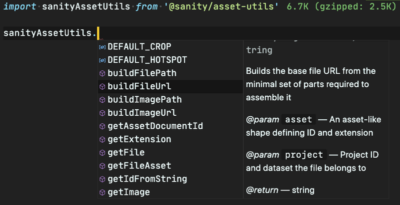 A code editor showing auto-complete for functions with documentation tooltip