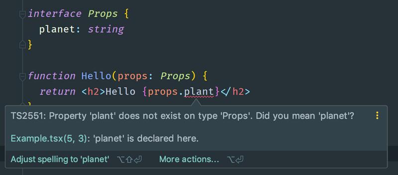 A screenshot of an IDE showing a type error