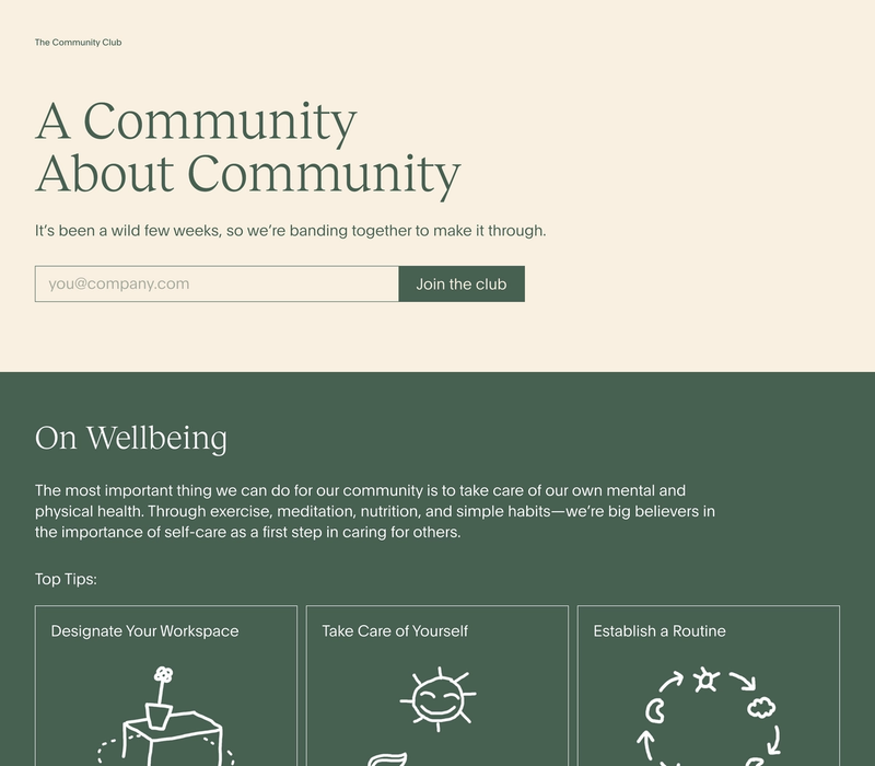 The Community Club frontpage