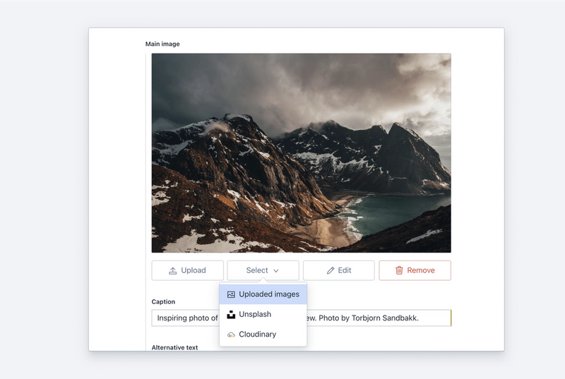 The image asset selector showing both uploaded images, Unsplash and Cloudinary