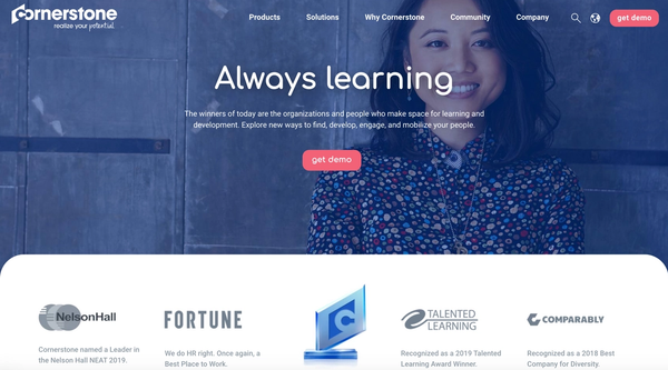 The homepage of www.cornerstoneondemand.com