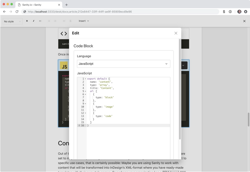 The code editor with some schema code in JavaScript