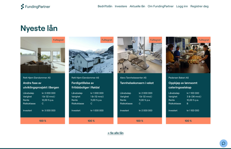 Funding Partner frontpage
