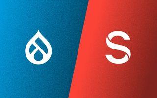 Logos: Drupal and Sanity.io