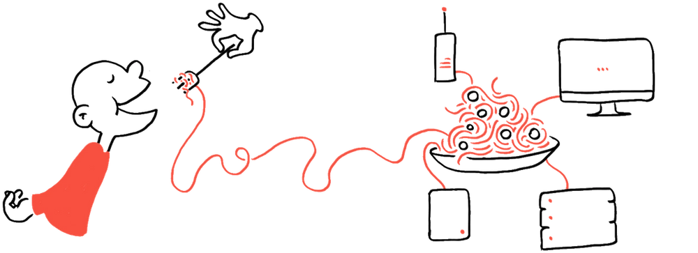 Illustration of connected services with spaghetti