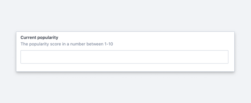 A current popularity indicator with a number field