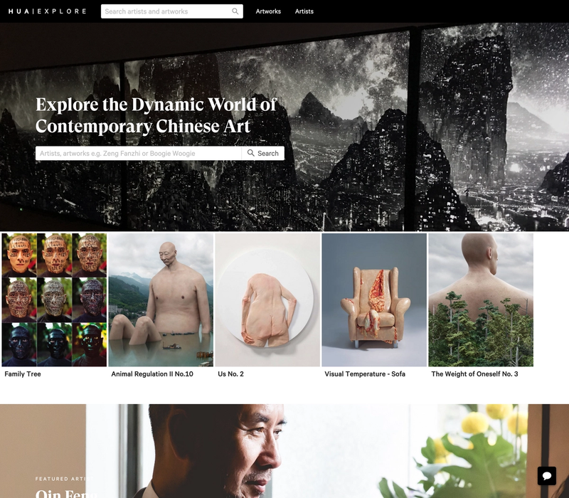 Hua Explore's front page showing a selection of artworks