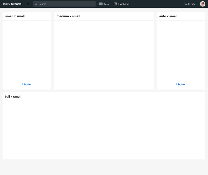 The Dashboard with four empty widgets of different size configurations