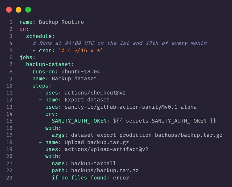 Example code for Backup Routine