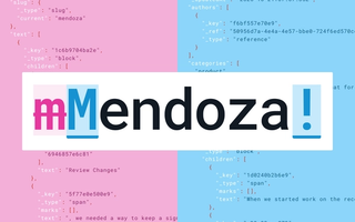 "poster: File diff showing changes to the word ""Mendoza"" with comparative code references behind."