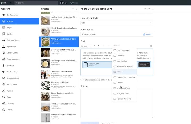 Screenshot of Sanity Studio for eCommerce site