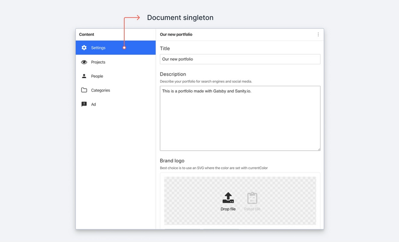 Screenshot of a document singleton in Sanity Studio