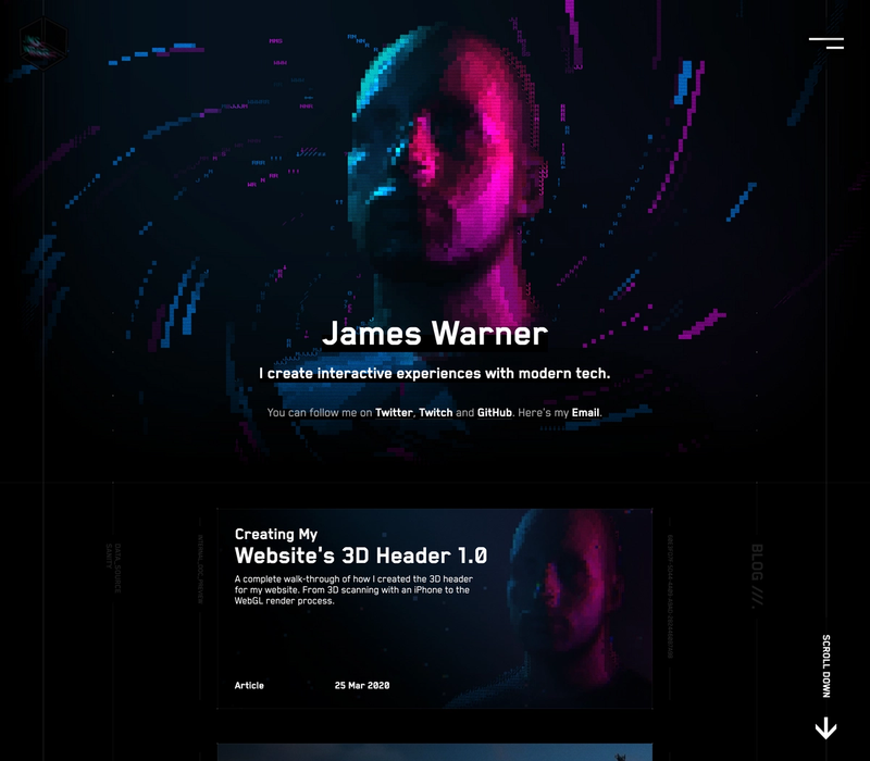 The animated frontpage of James Warner's website