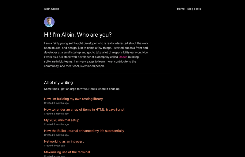 The frontpage for Albin Groen's personal site