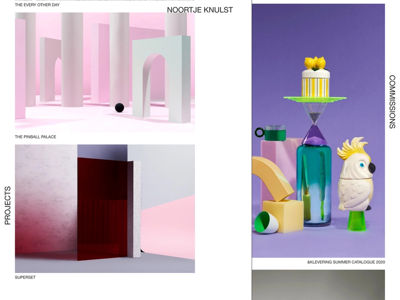 The Noortje Knulst frontpage with colorful photos