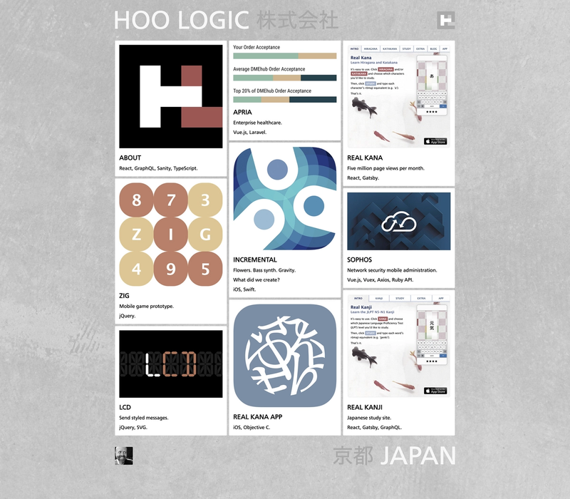 The Hoo logic frontpage with masonry cards