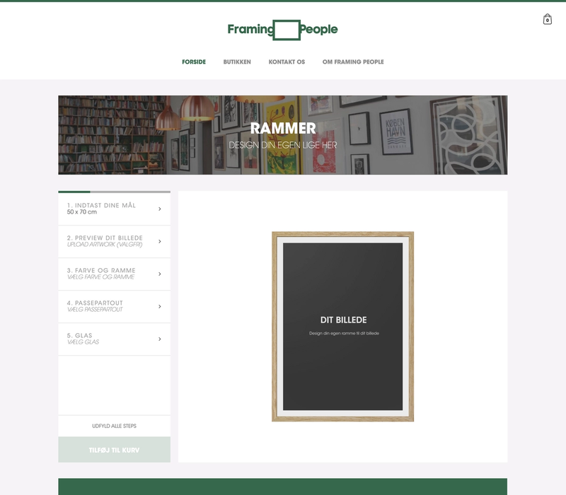 The Framing People frontpage with a 3d rendered picture frame